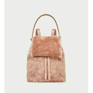 Zara Faux Fur Backpack Blush Pink